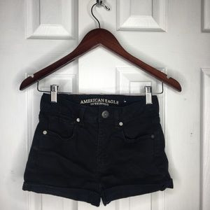 AE High Waisted Black Jean Stretch Shorts